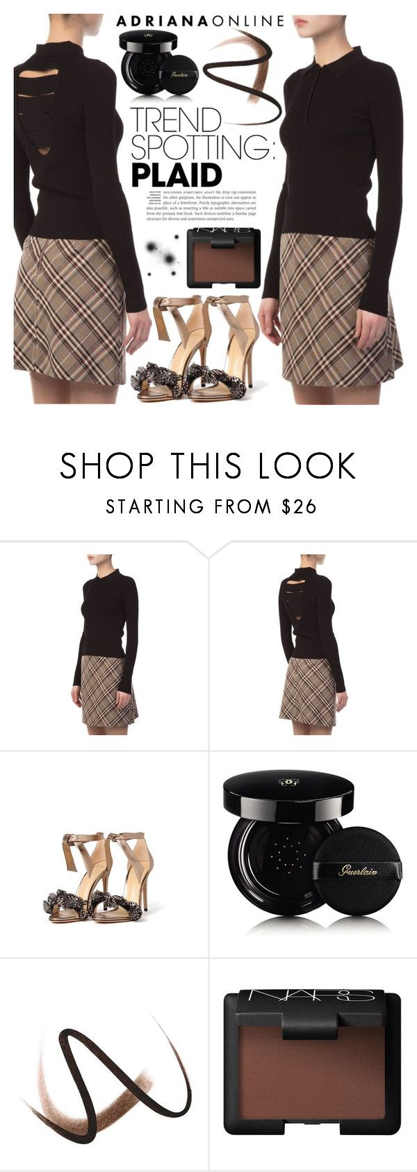 """ADRIANA ONLINE: Plaid"" by gaby-mil ❤ liked on Polyvore featuring Alexandre Birman, Guerlain and Burberry"