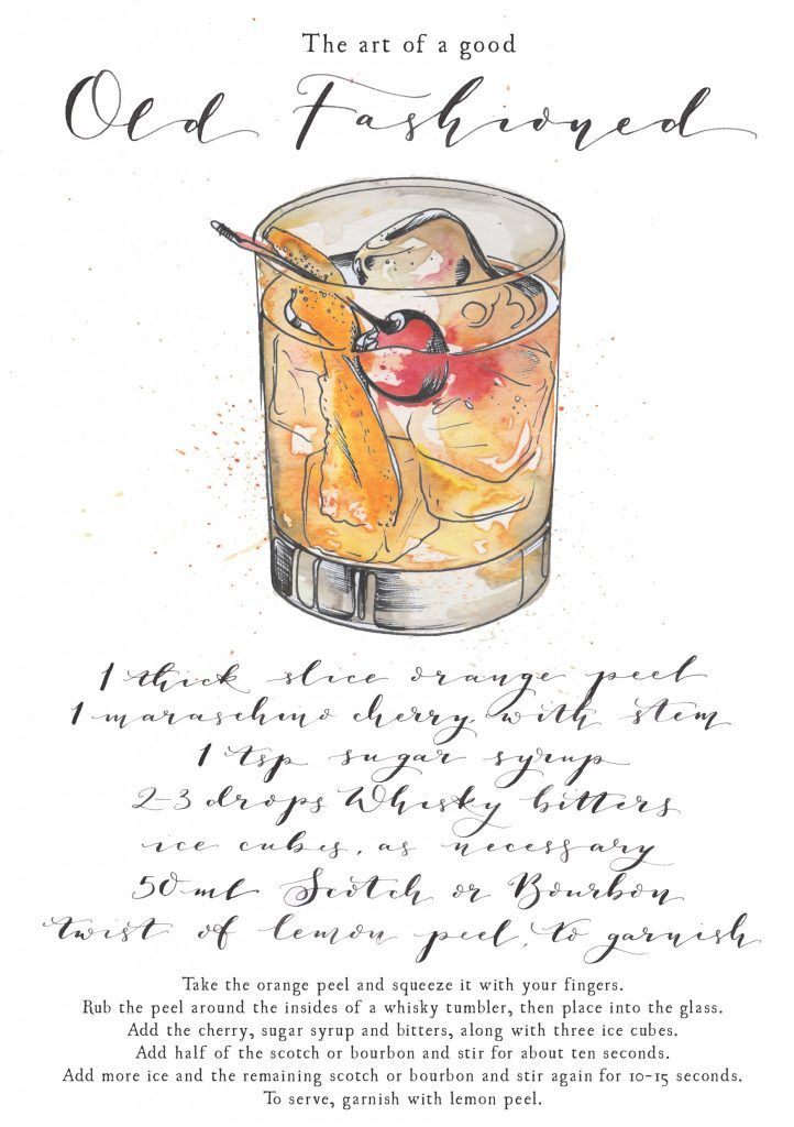 Old Fashioned Cocktail illustration. This is one of my art prints, including calligraphy recipe and ingredients.  I love painting cocktails as watercolour and pen and ink works so well creating the glass and liquid. Commission your very own artwork by clicking the link.