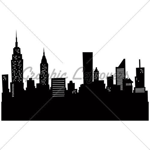 Cartoon Skyline Silhouette Of New York City Random