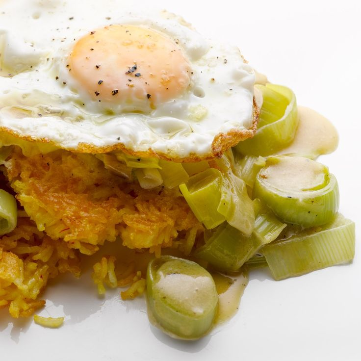 Fried rice cakes with creamed leeks and egg  I Ottolenghi recipes
