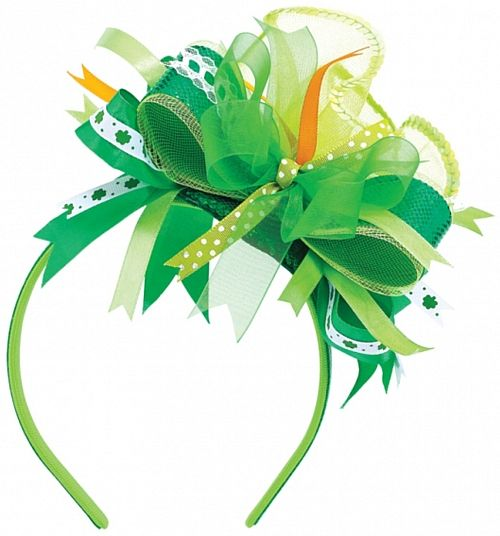 Green Ribbon Deluxe Headband - 18cm. St Patrick's Day themed party ideas, decorations, Irish St Patrick's Day fancy dress and tableware with shamrocks in Irish colours green white and orange