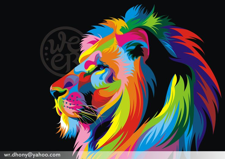Colorful lion painting - photo#15