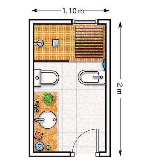 Plano: Un baño con paredes en naranja de 2,20 m²