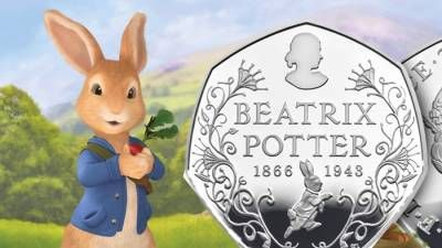 Peter Coniglio e Beatrix Potter celebrati su una moneta