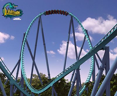 """Number 9: Leviathan- 92 mph Canada's Wonderland, Maple, Ontario, just outside Toronto Out and back Giga-Coaster   The fastest coaster in Canada, Leviathan is the first Giga-Coaster from Bolliger and Mabillard, makers of super-smooth and sleek coasters. Given B&M's """"track"""" record, it's no surprise that Leviathan is quite smooth, despite its wild speed."""