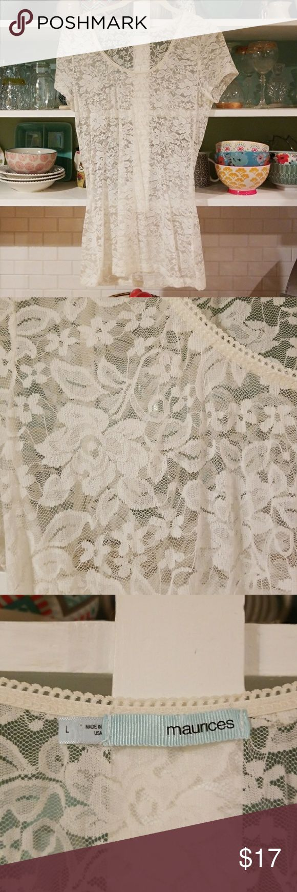 Cream lace scoop neck short sleeve Great piece. Floral cream lace,short sleeve t-shirt. Layer over any color camo. Great used condition. Maurices Tops Tees - Short Sleeve