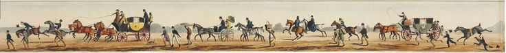 ALKEN, Henry. Going to Epsom Races. London: S. and J. Fuller, 1819. A hand-coloured aquatint strip panorama in nine sections (57 x 4598mm. overall). (A few snagged edges.) In original boxwood cylinder mounted with hand-coloured racing scene (lightly rubbed) and with engraved circular title label on base, modern calf case. FINE EXAMPLE of this remarkable frieze of riders and carriages on the road from London to Epsom Race Course with the race in progress.