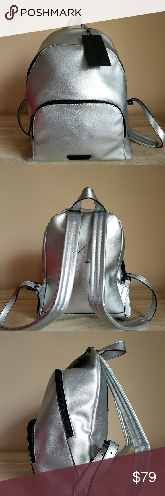Kendal and Kylie vegan free silver backpack The backpack is spacious, straps are adjustable, durable, modern great for all ages. Kendall & Kylie Bags Backpacks