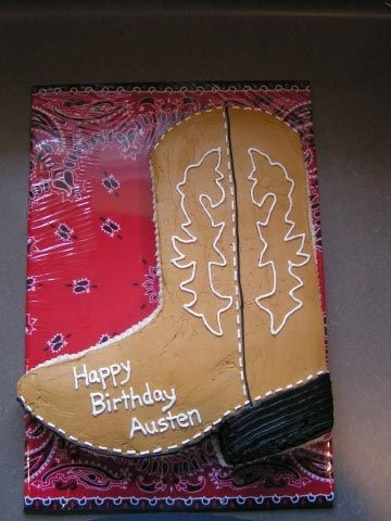 cowboy+boot+cake | Cowboy boot cake... Love the bandana  as the background