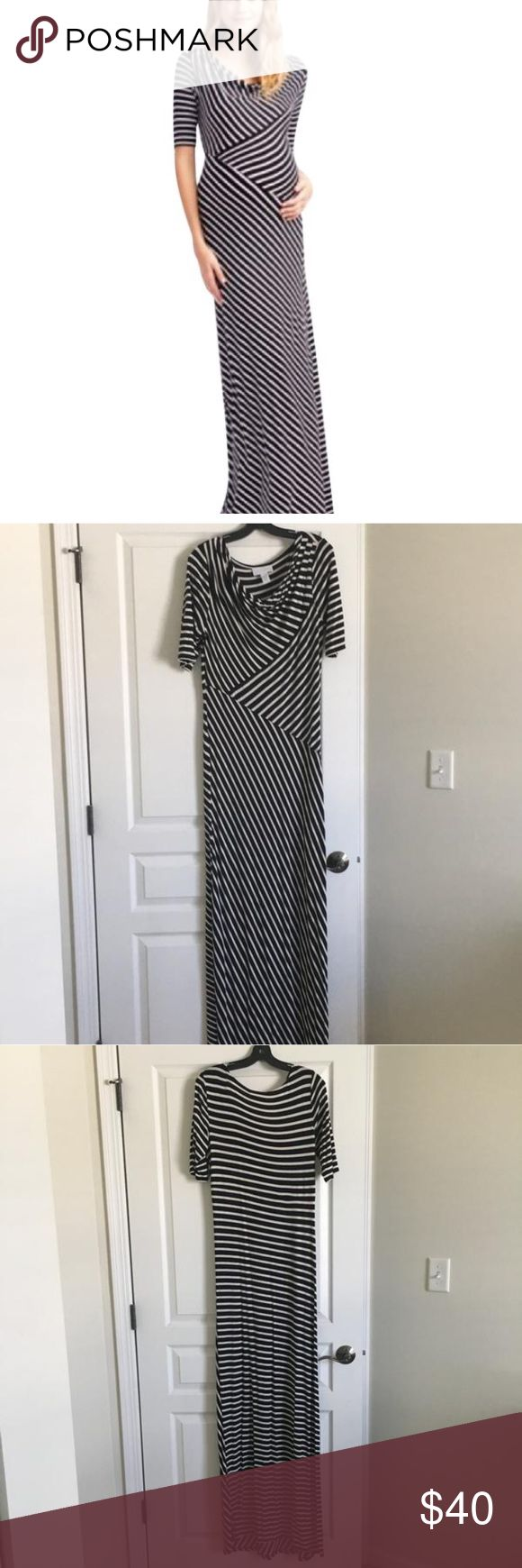 Black and White striped Maternity Dress Flattering and comfortable cotton Maternity Dress. Worn once, in excellent condition. Jessica Simpson Dresses Maxi