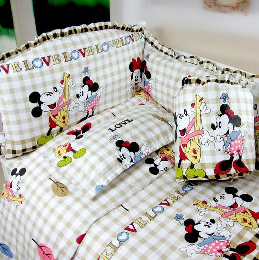 5 pcs baby crib bedding sets baby crib bedclothes baby bedding bumpers minnie mouse baby crib sheets 100% cotton-inBedding Sets from Home  Garden on Aliexpress.com $89.49
