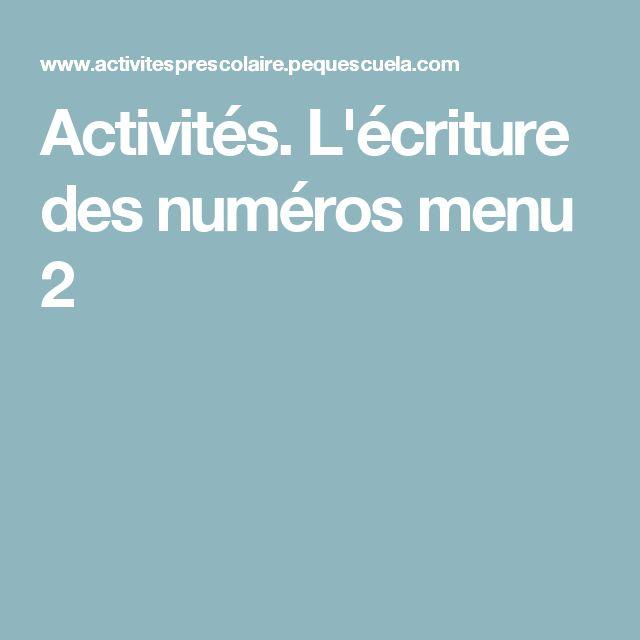 Activités. L'écriture des numéros menu 2