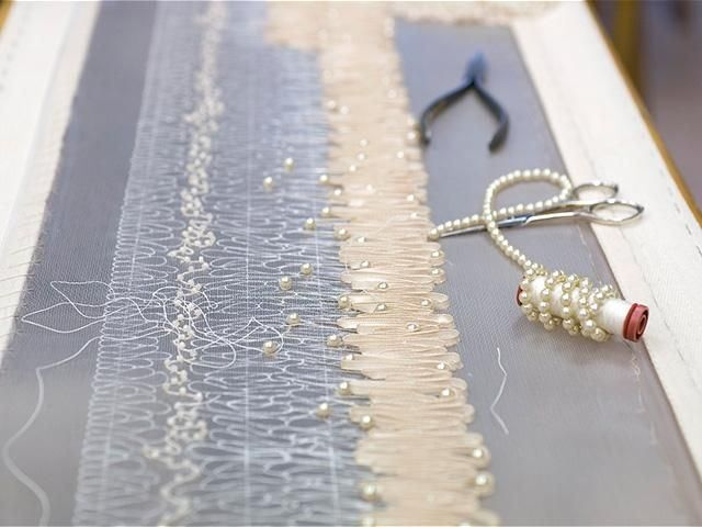 Haute Couture behind the scenes - hand-embellished beaded embroidery for a couture dress, fashion atelier dressmaking - Lesage, Chanel