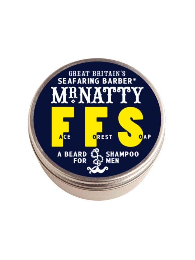 """El champú para Barba """"Mr. Natty Face Forest Soap"""" contiene Aceite de Oliva y Karité, para limpiar, suavizar y cuidar tu barba y piel al máximo con aroma a menta."""