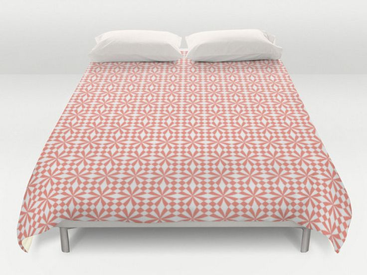 Coral Duvet Cover, Modern Duvet Cover, Coral White Bed Cover, Coral Bedding, Geometric Comforter, Coral Bedspread, King Queen Full Twin by DesignMargarida on Etsy https://www.etsy.com/listing/241108949/coral-duvet-cover-modern-duvet-cover