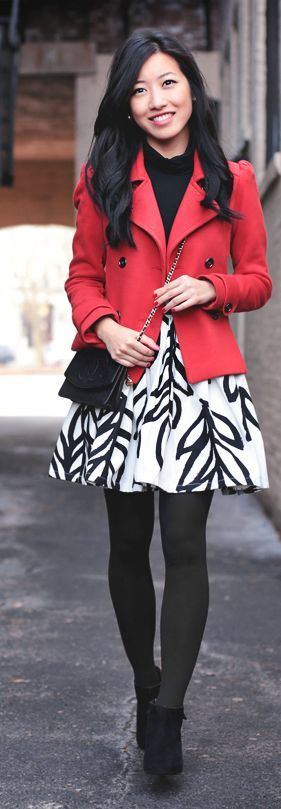 Red Peacoat + Leaf Print Skirt by Extra Petite