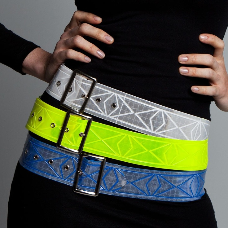 Vespertine Reflective Cinch Belt:  Made in NYC, the Vespertine Cinch Belt is spectacular in White Flash, Citron, or Blue Max.  You can use one, two, or all three belts over a dress, sweater, parka, or trenchcoat... and set your waist aglow!  A subtle pattern of intertwining diamonds wraps around the highly reflective material of the Cinch Belts.  They even reflect in the rain! This is unquestionably one of the most practical, versatile and hardwearing cycling accessories around. £24