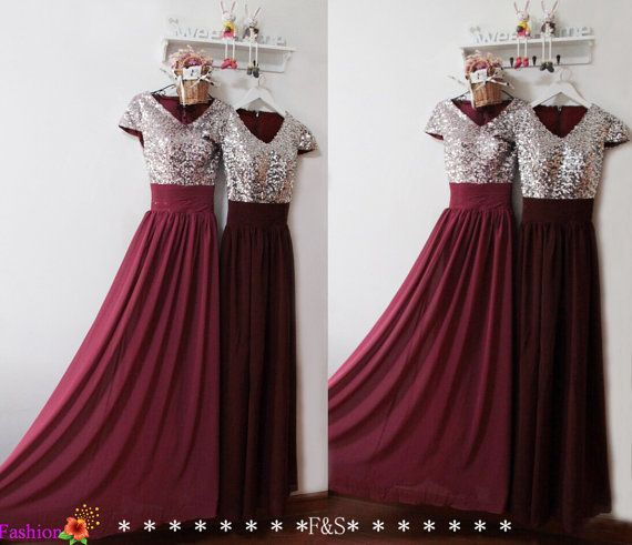 Burgundy Prom Dress Sexy Prom Evening Formal Dress Sequin
