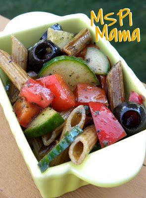 MSPI Mama: Balsamic Pasta Salad, use less vinegar and possibly more oil at first until he likes the amount of vinegar