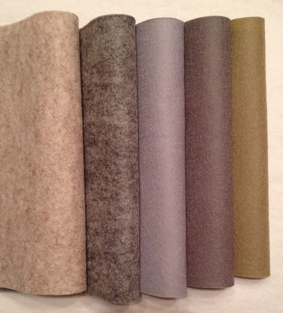PURE WOOL FELT Craft Supply  5 sheets    Shades by HeartFeltDolls