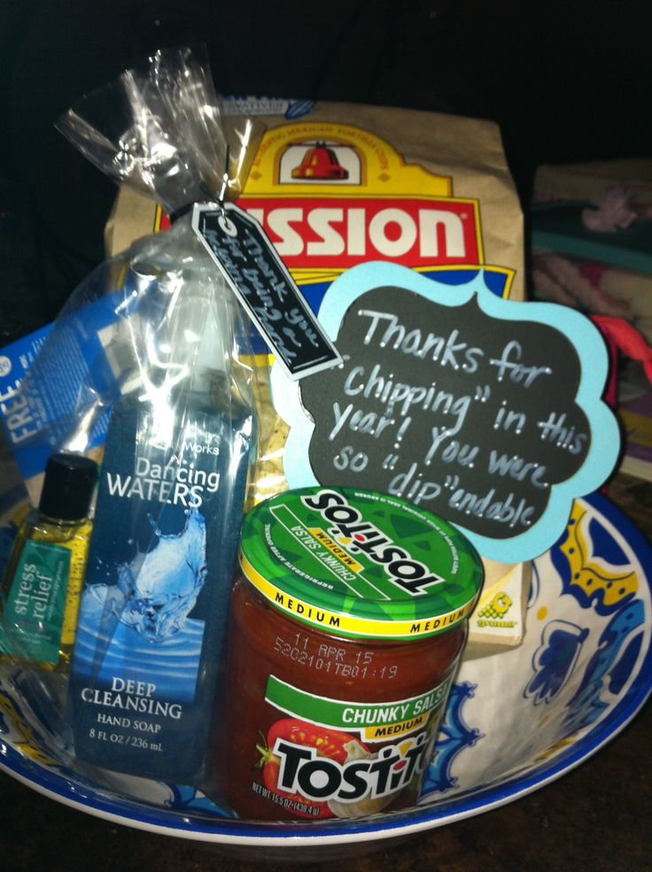 """Volunteer gifts:  Thanks for chipping in this year.  You were so """"dip""""endable."""
