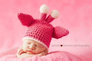 Pink Giraffe Baby Hat  READY TO SHIP 03 months by TCTbaby on Etsy, $30.00