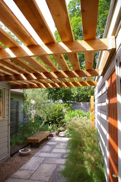 Another view of the stone path & shade structure