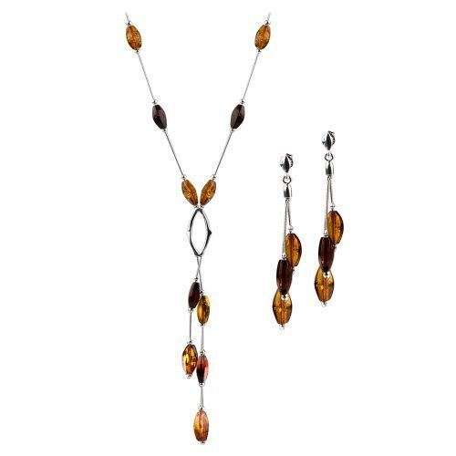 Sterling Silver Multicolor Amber Caramel Kiss Collection Earrings and Necklace Set 18.5 Inches GRACIANA. $141.98. All amber jewelry designs are from Eastern Europe. Save 53%!