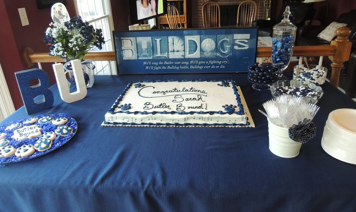 Butler  University Bound graduation party cake and decorations table!