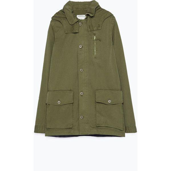 Zara Military-Style Parka ($60) ❤ liked on Polyvore featuring outerwear, coats, khaki, zara coat, military fashion, khaki coat, military coat and green military coat