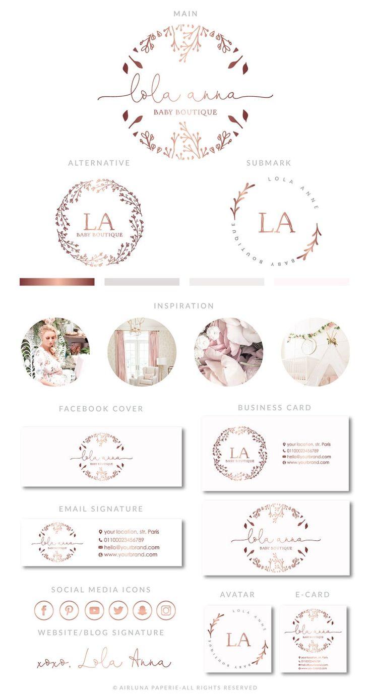 Spa Salon Logo Rose Gold Wreath Branding Kit Photography | Etsy