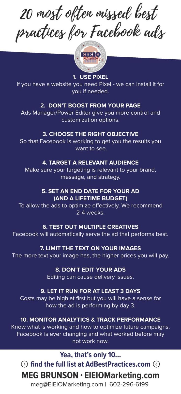 Great detail in the post!! Top 20 Most Often Missed Facebook Advertising Best Practices - EIEIOMarketing.com