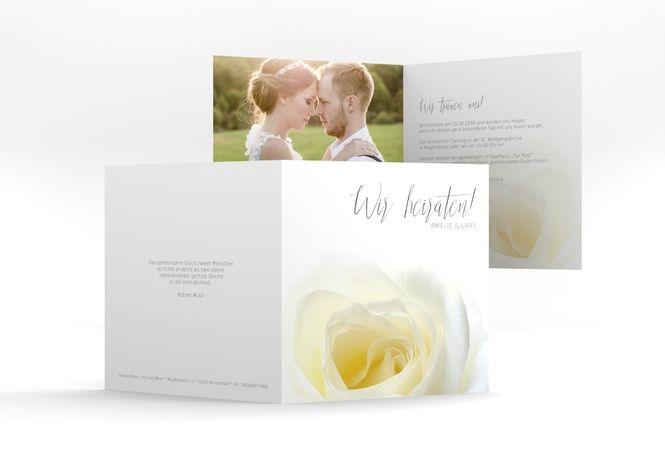 """Hochzeitseinladung """"Rose"""" Romantisch, blumig, edel."""