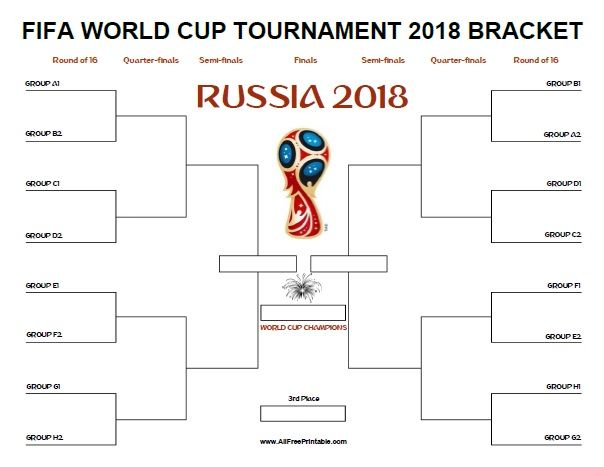 Fifa World Cup Bracket Russia 2018 Free Printable World Cup Fifa World Cup Fifa