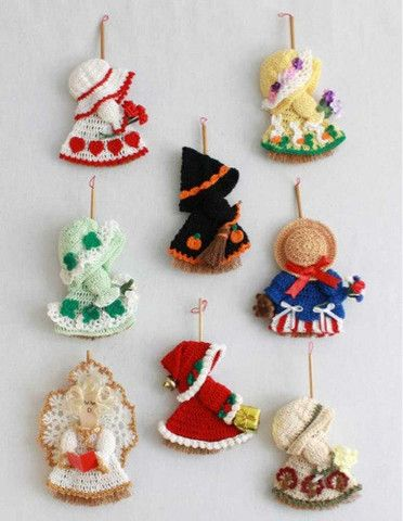 Picture of Holiday Mini Broom Dolls 2 Crochet Pattern Leaflet