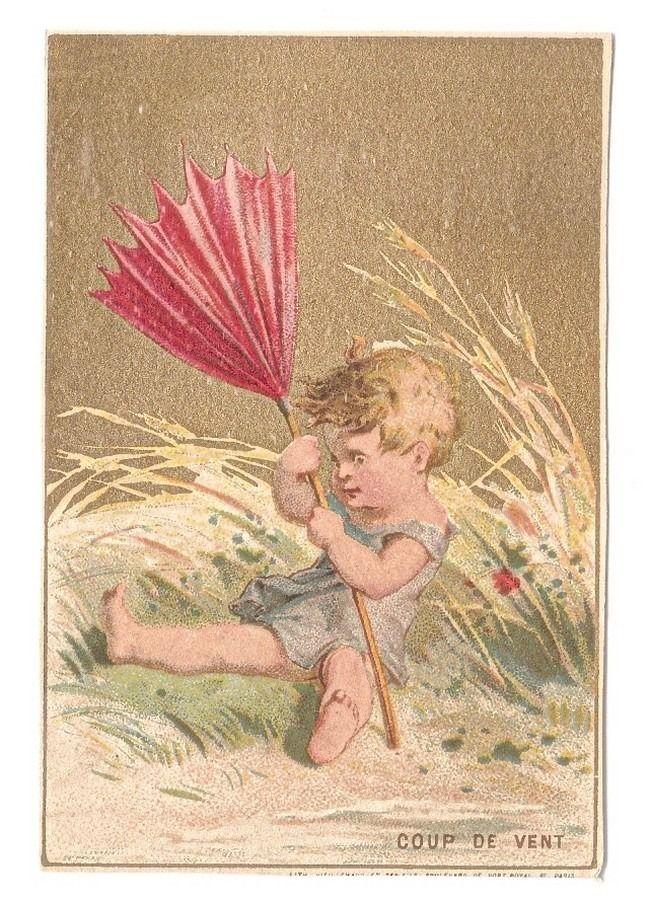 Coup de vent - - Enfant Parapluie Bébé  - - Chromo  - Trade Card
