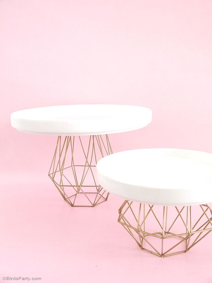 DIY Metallic Gold Geometric Cake Stand - BirdsParty.com