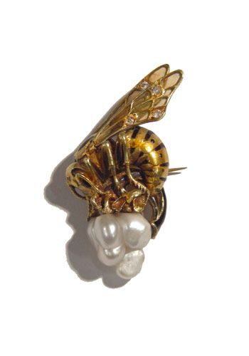 Art Nouveau Gold, Enamel, and Pearl Wasp Brooch French 1900