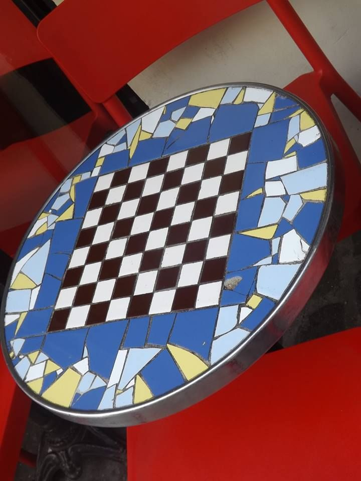 Mosaic chess table | mosaics | Pinterest | Chess and Mosaics