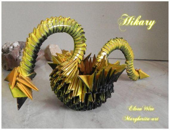 Drago Origami Modulare giallo sole luce fatto a mano