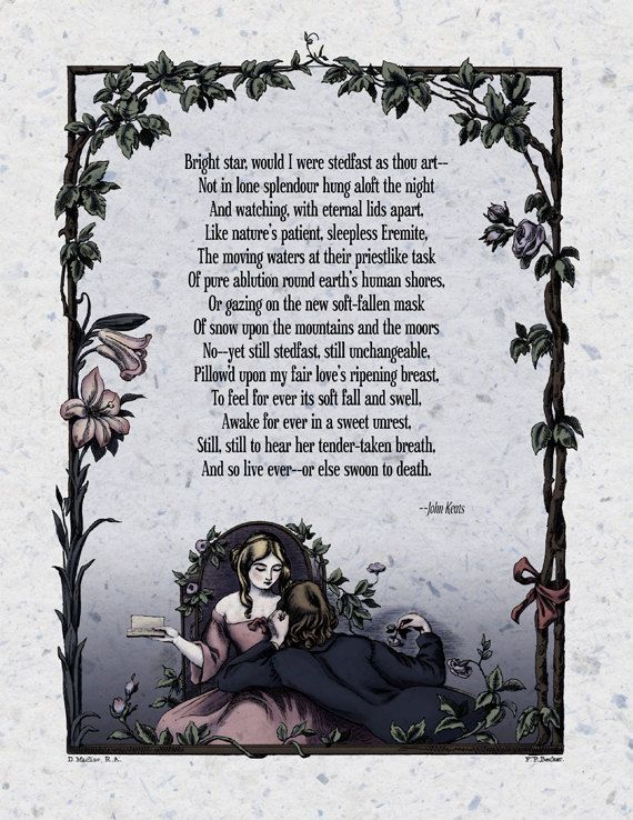 "Victorian Poetry Art Print: ""Bright Star"" (John Keats). 8.5"" x 11"" print; 19th century illustration and poem with a modern twist."
