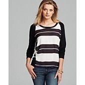 Aqua Sweatshirt - Mixed Media Stripe