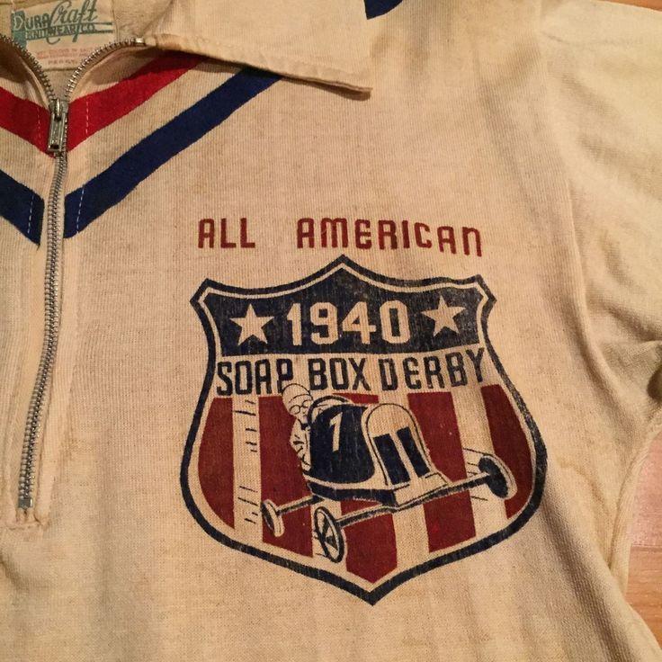 "Vintage 1940's ""Soap Box Derby Champ"" Cotton Knit Half Zip Jersey Shirt   eBay"