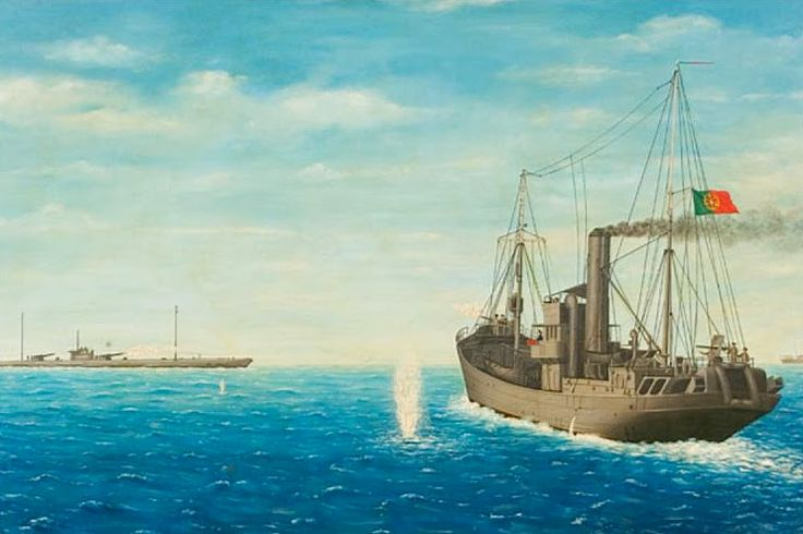 "A painted recreation of the fight between the German  U-139 and  the Portuguese naval trawler ""NRP Augusto Castilho""."