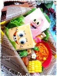 Sponge Bob sandwich bento