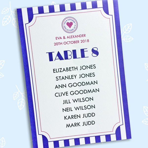 Just the Ticket printed wedding table name cards