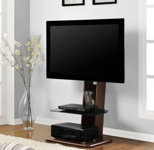 Contemporary Mount TV Stand Living Room Furniture Walnut & Black Finish New