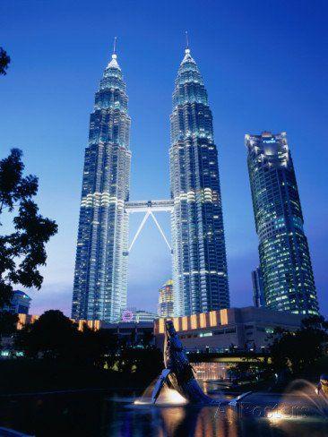 Petronas Twin Towers in Evening Light, Kuala Lumpur, Malaysia