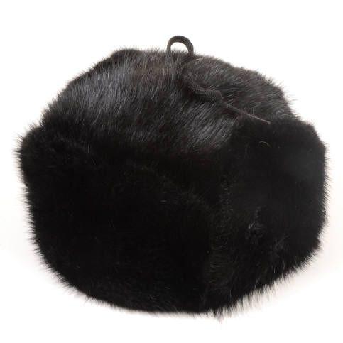 Striking full fur black muskrat Trapper hat / Chapeau facteur tout fourrure rat musqué noir