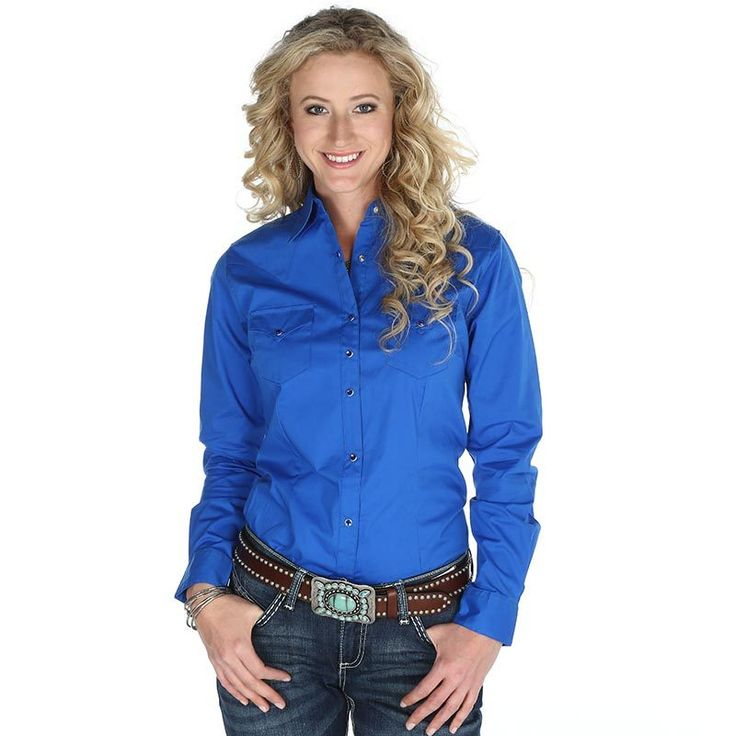 Women's Wrangler Blue Long Sleeve Button Down with Rhinestone Snaps